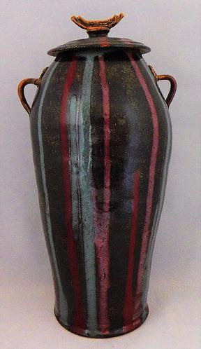 Tall Striped Lidded Jar