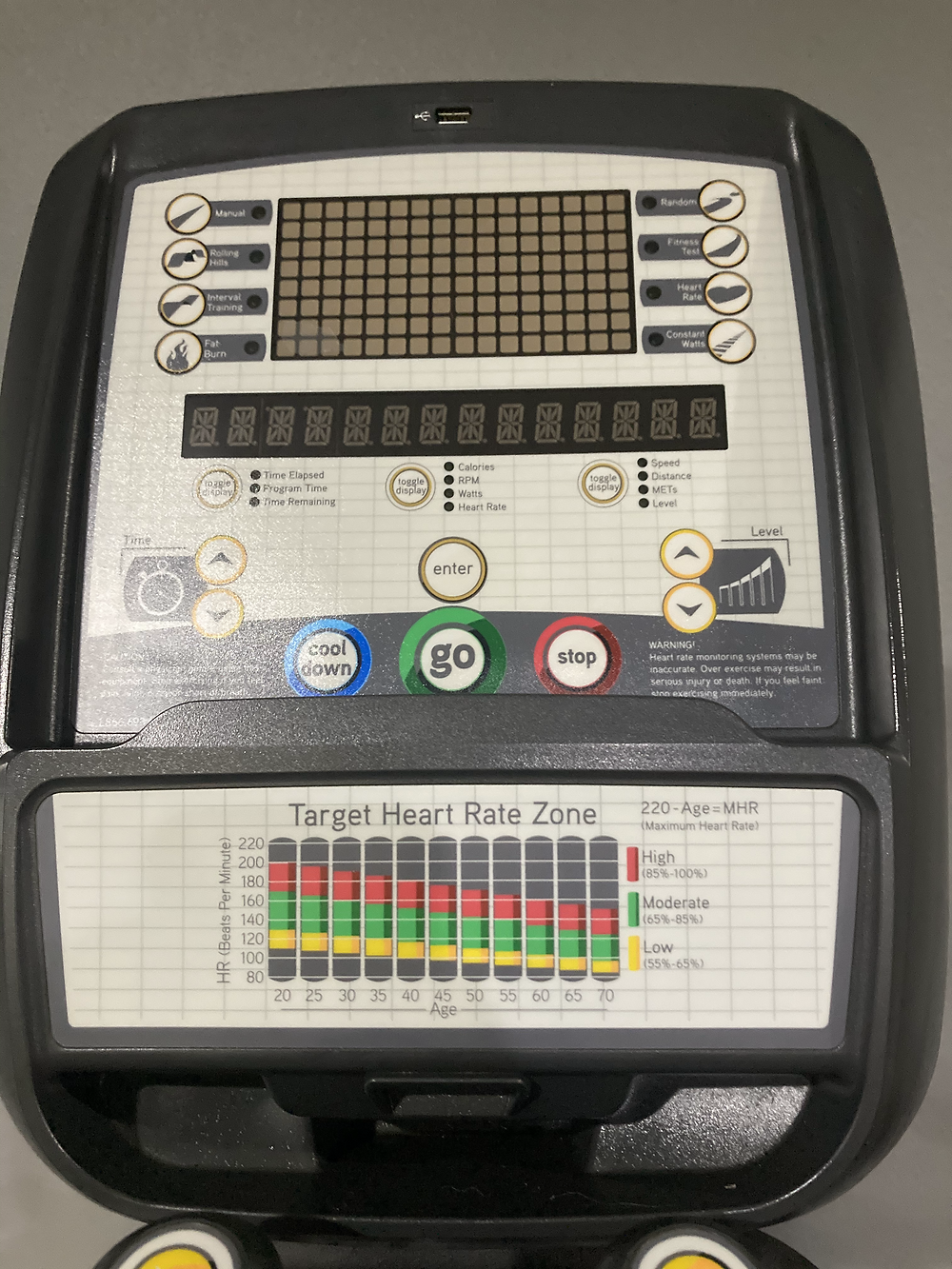 Image of the elliptical screen found in Forge 24/7 Best gym in South Tampa. Used to track calories, speed and resistance