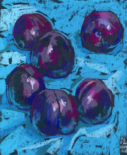 Plums on Blue Tablecloth