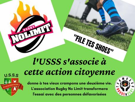 """La Team USSS Rouge et Verte s'associe à cette action citoyenne  """"Donne Tes Vieux Crampons"""" ❤️ 🏉 💚"""