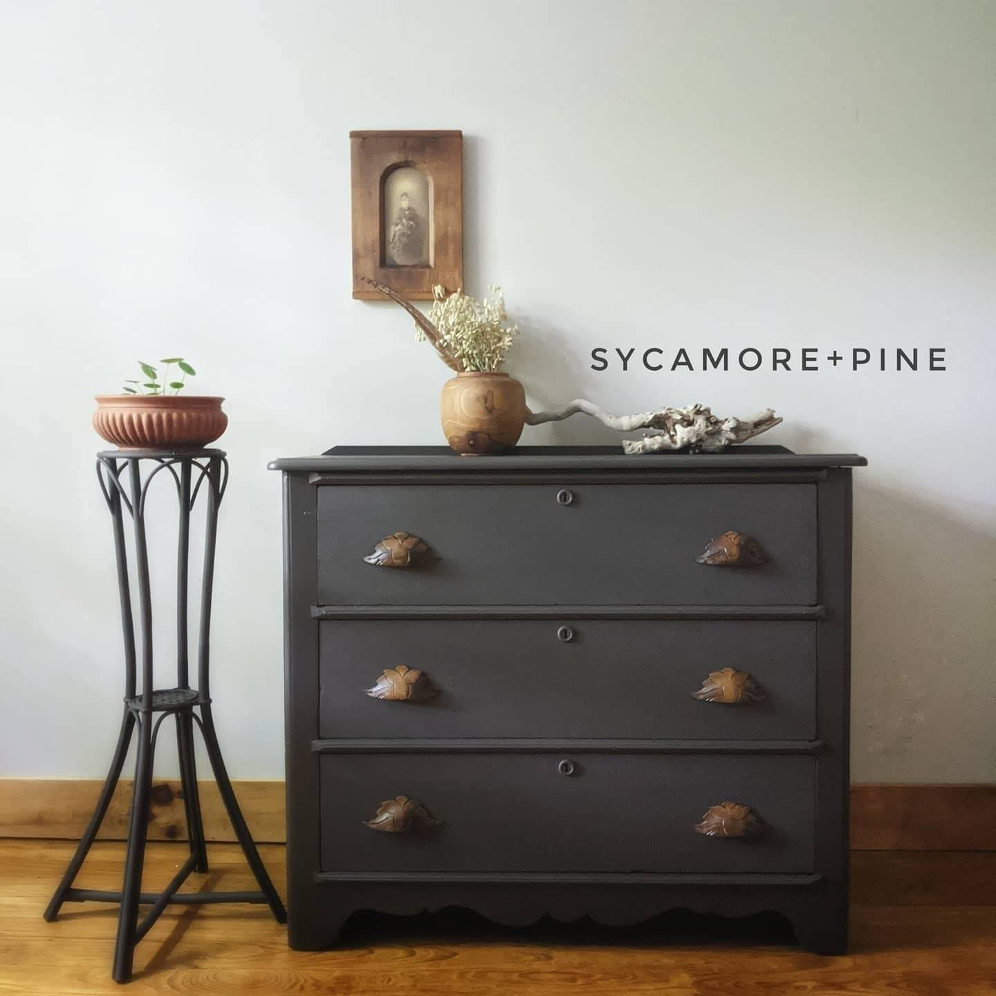Primitive Pine Dresser Painted in non toxic paint, color matched in  BM Midsummer's Night, a charcoa