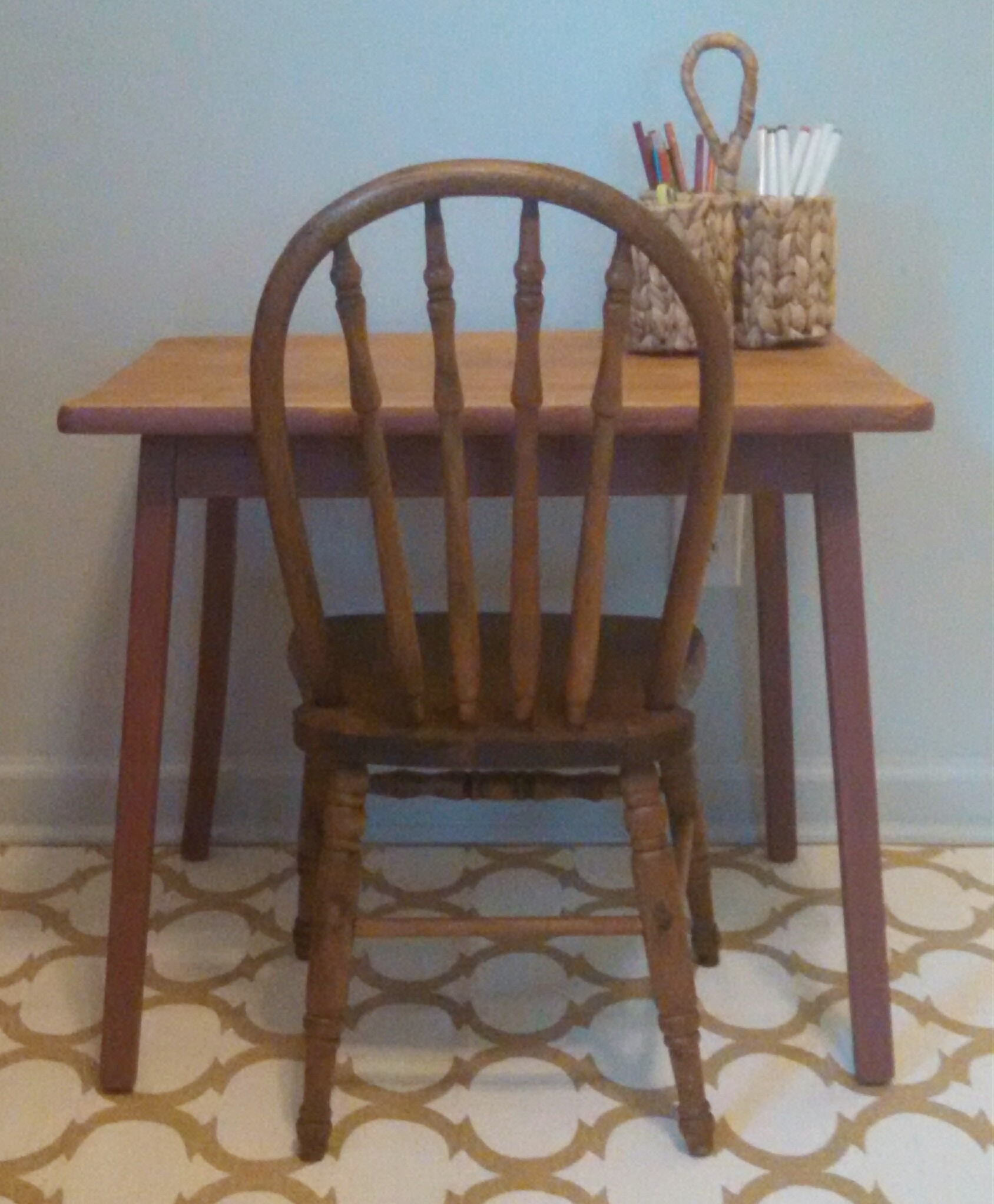 Antique kid's table and chair