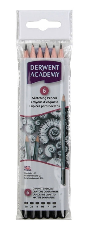 ACADEMY SKETCHING PENCILS 6 HANGING PACK