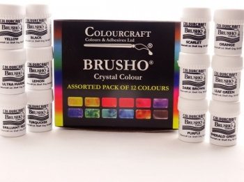BRUSHO ASSORTED PACK OF 12 CRYSTAL COLOURS 15g