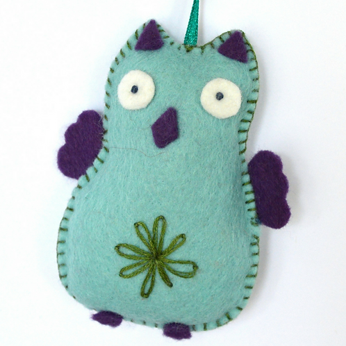 Bright Owl Turquoise- Mini Felt Craft Kit