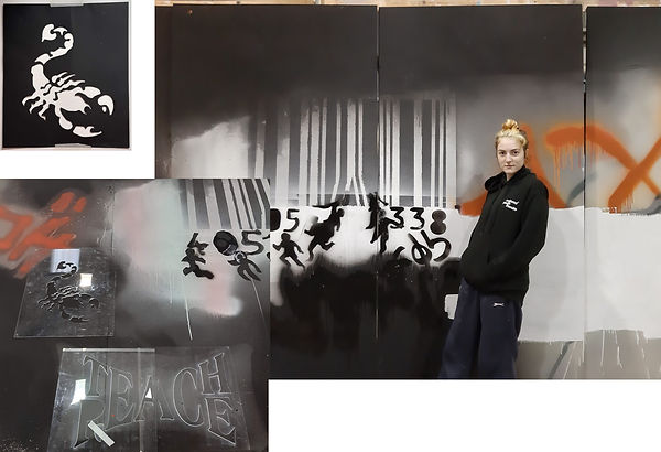 Part of a graffiti wall for 'Rage' designed by Alice Sadler. Stencils were CADed and laser cut by me