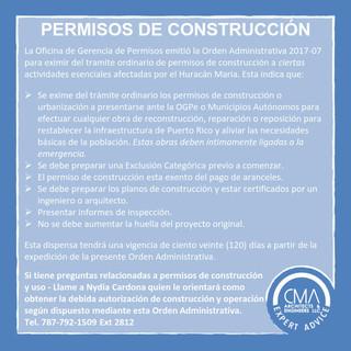 ¿Que trabajos DE RE-CONSTRUCCION están eximidos de PERMISOS post HURACAN MARIA?