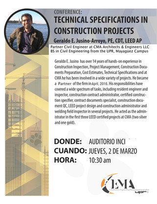CMA presented Technical Specifications in Construction Projects at UPR-RUM