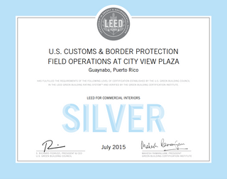U.S. CUSTOMS & BORDER PROTECTION FIELD OFFICES received LEED SILVER CERTIFICATION