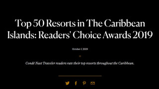 Condé Nast Traveler | Top 50 Resorts in the Caribbean Islands Readers Choice Awards
