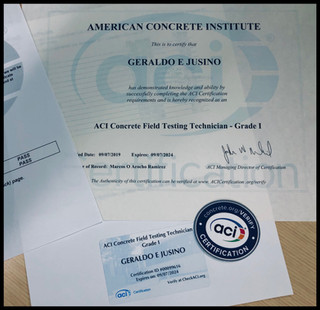 American Concrete Institute : Grade I - Certification