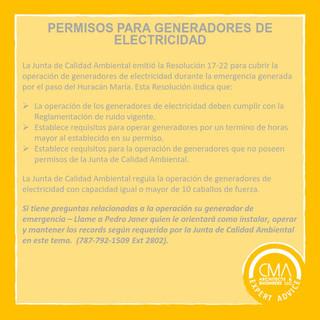 PERMISOS PARA GENERADORES DE ELECTRICIDAD