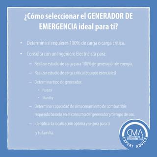 ¿Sábes cómo seleccionar el GENERADOR DE EMERGENCIA ideal para tí? #CMAexpertAdvice
