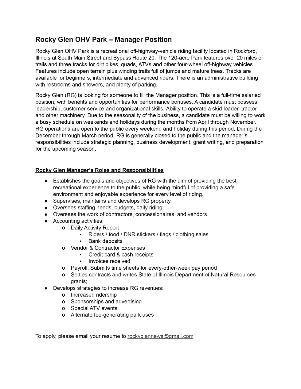 Rocky Glen OHV Park - Manager Position.d