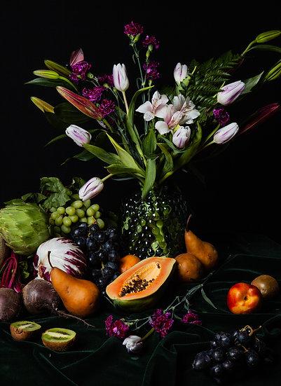 Still Life With Pear and Papaya Print
