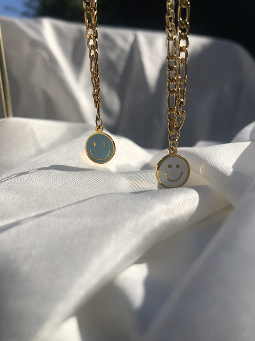 Witte smiley ketting