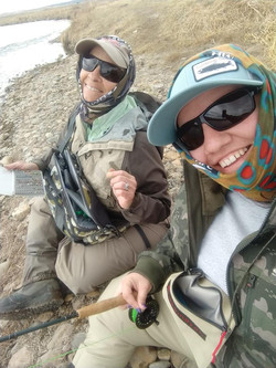 two gals fishing at Dream Stream