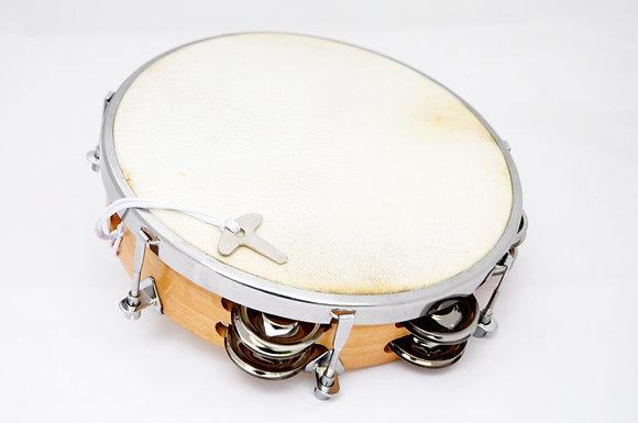 Tamburin z opno iz naravne kože – 20 cm in 6 parov kraguljčkov