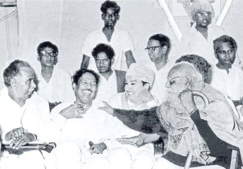 M Karunanidhi (second from left) With Annadurai (left) MGR (second from right) with Periyar (right)