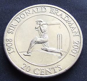 Image of Don Bradman on 20 cents coin