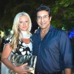 Wasim Akram with his wife Shaniera Thompson