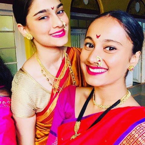 Saiee Manjrekar with her step-sister Gauri Ingawale