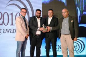 Kartikeya Sharma Receiving Award for the Best CEO of the Year 2016