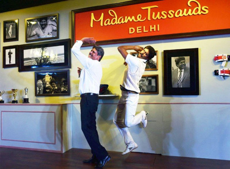 Kapil Dev Posing With His Wax Statue At New Delhi's Madame Tussauds