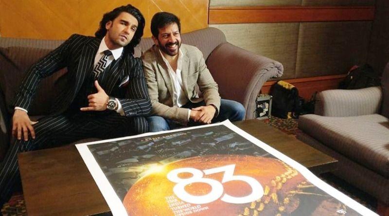Ranveer Singh With The Poster of Kapil Dev's Biopic 83