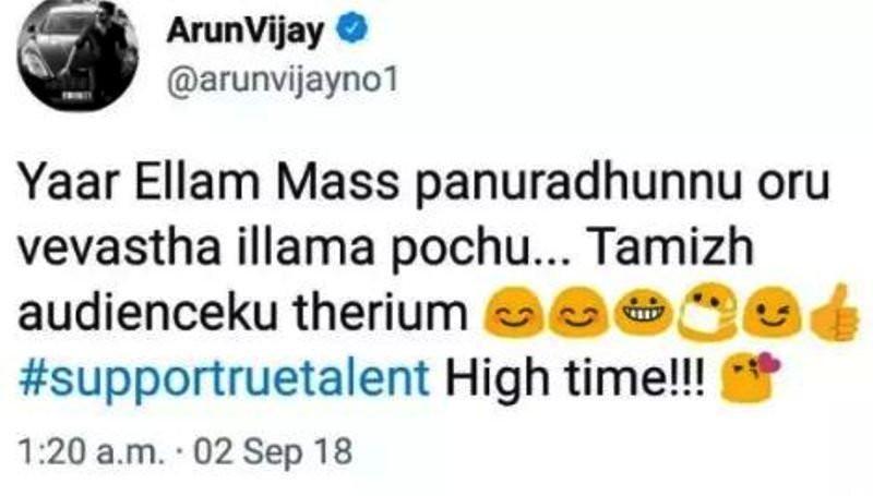 Arun Vijay's Controversial Tweet