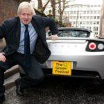 Boris Johnson with his car