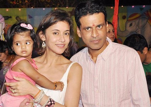 Manoj Bajpai with his wife and daughter