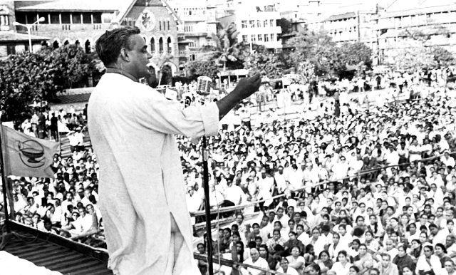 Atal Bihari Vajpayee Addressing A Rally