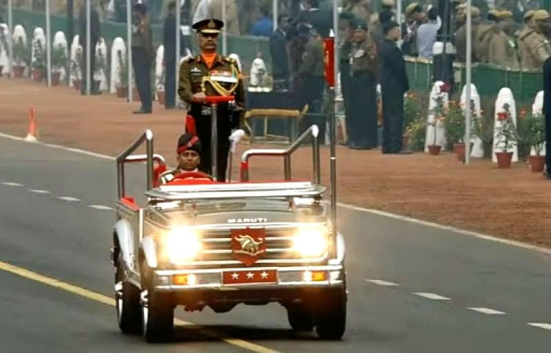 Manoj Mukund Naravane as the Commander of the 2017 Republic Day Parade