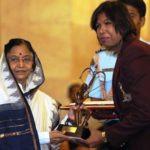 Jhulan Goswami receiving Arjuna Award