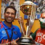 Sudhir Kumar Chaudhary lifting the Trophy with Sachin