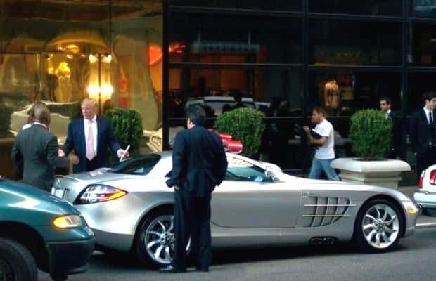 Donald Trump with his 2003 Mercedes-Benz SLR McLaren
