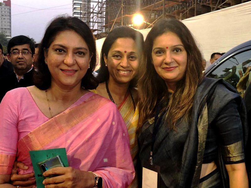 Supriya Sule with Priyanka Chaturvedi (right) and Priya Dutt (left)