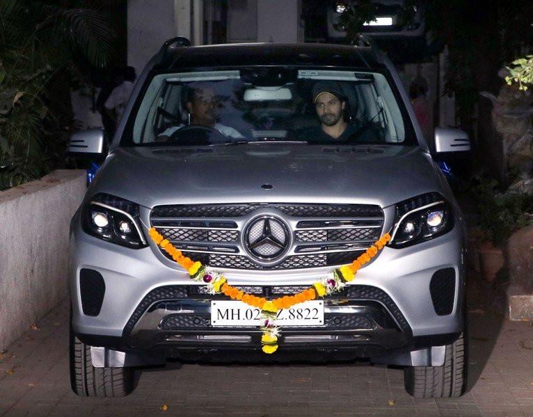 Varun Dhawan in His Mercedes Car
