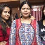 Deepthi Sunaina with her mother and sister