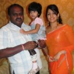 H. D. Kumaraswamy With His Daughter And Wife