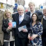Boris Johnson with wife Marina, siblings Rachel, Jo and Leo and father Stanley