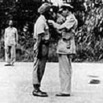 Arjan Singh getting Distinguished Flying Cross (DFC) Pinned By Lord Lord Mountbatten