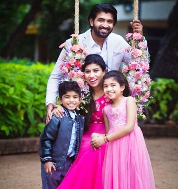 Arun Vijay with His Wife and Children