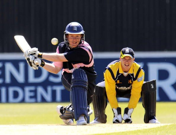 Eoin Morgan playing a reverse sweep