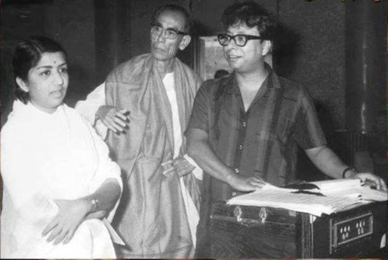 S. D. Burman with Lata Mangeshkar and R. D. Burman