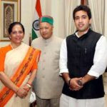 Pratibha Singh with Virbhadra Singh and her Son