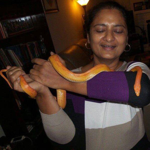 Vijaya Chamundeshwari with her pet snake