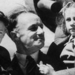 Don Bradman with his son and daughter