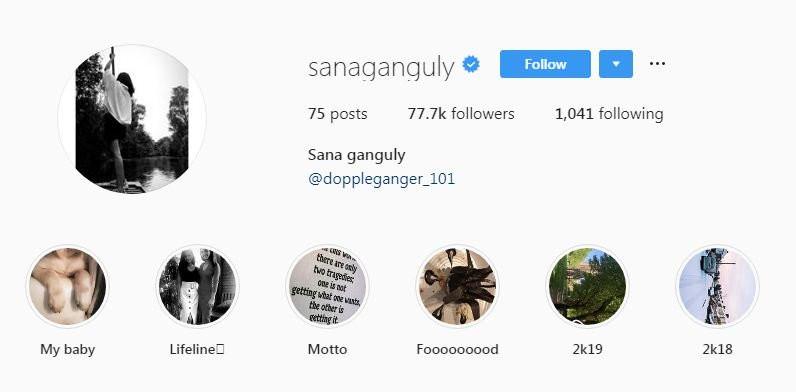 Sana Ganguly's Instagram Profile